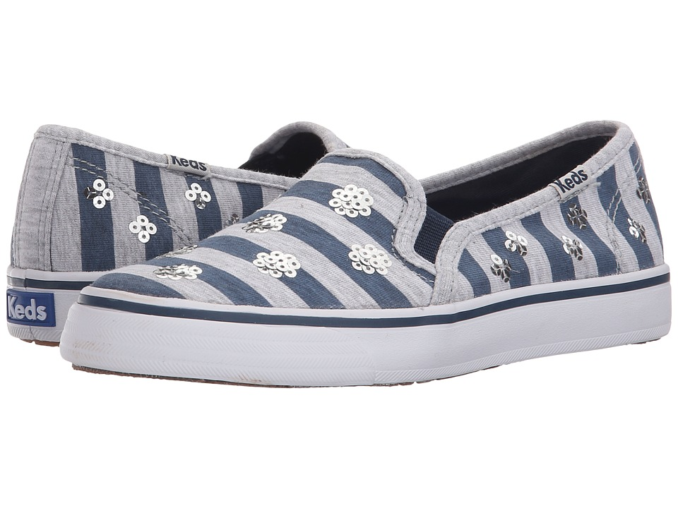Keds Kids - Double Decker (Little Kid/Big Kid) (Navy Stripe) Girl's Shoes