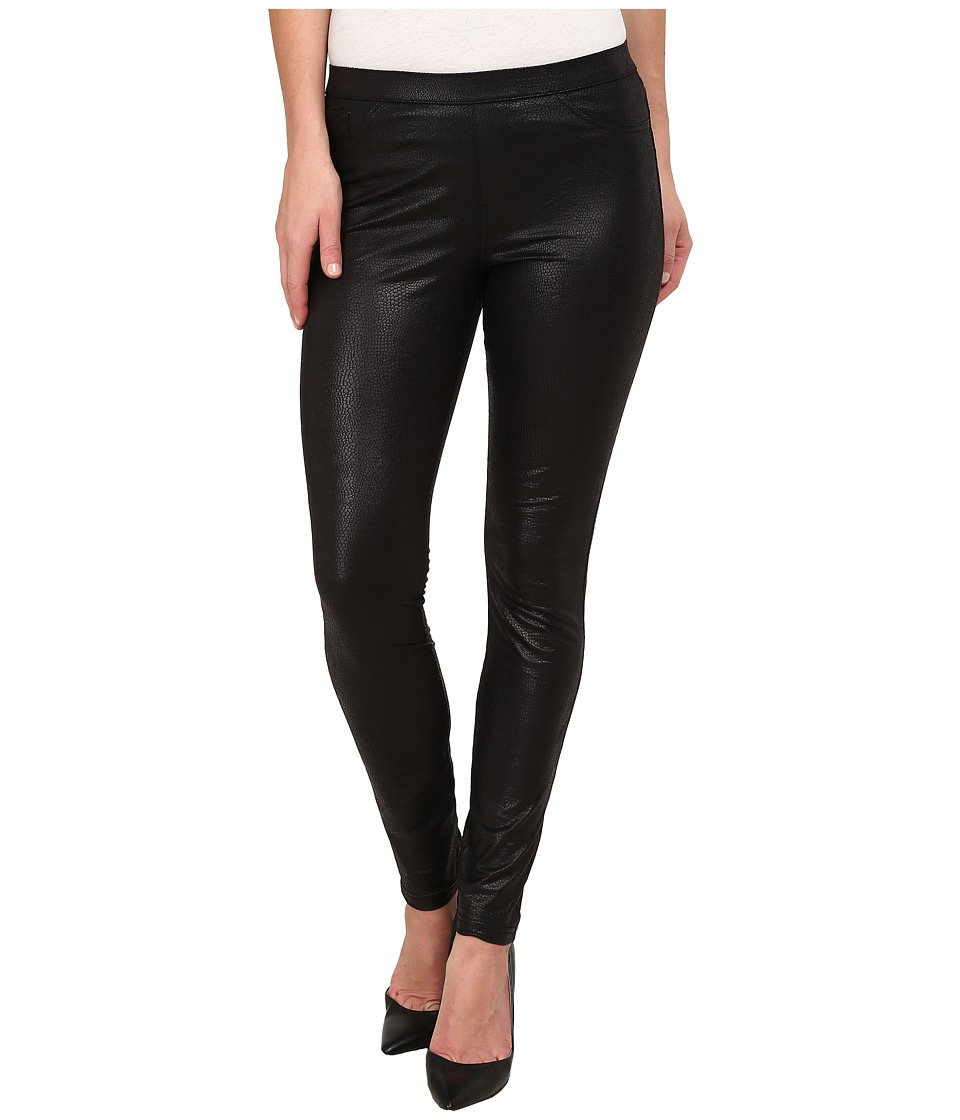 HUE - Python Leatherette Leggings (Black) Women