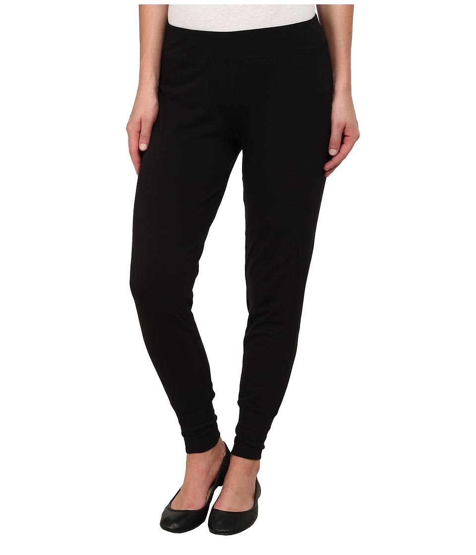 HUE - Tall Cuff Cotton Drapey Leggings (Black) Women's Casual Pants