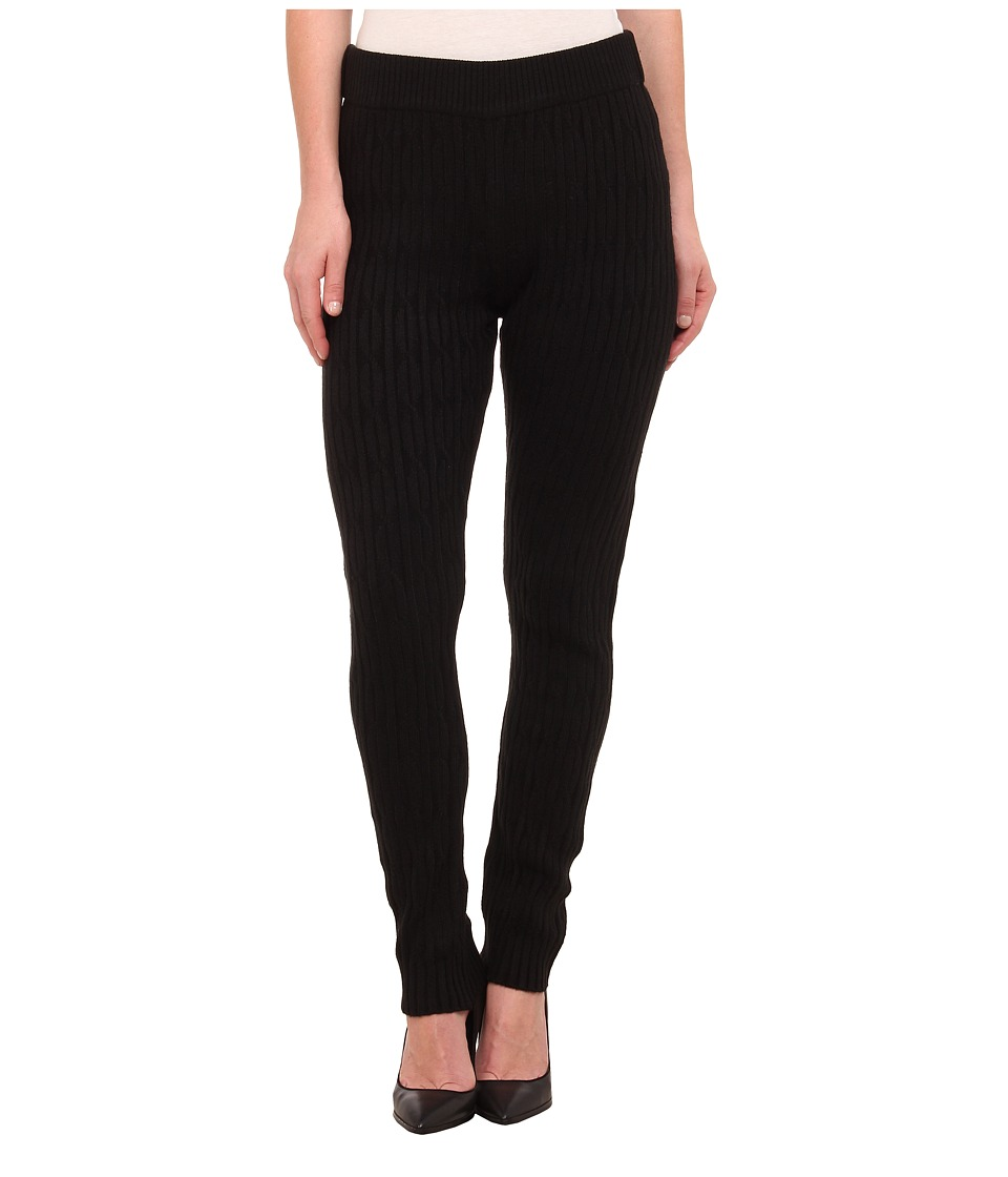 HUE - Cable Sweater Leggings (Black) Women