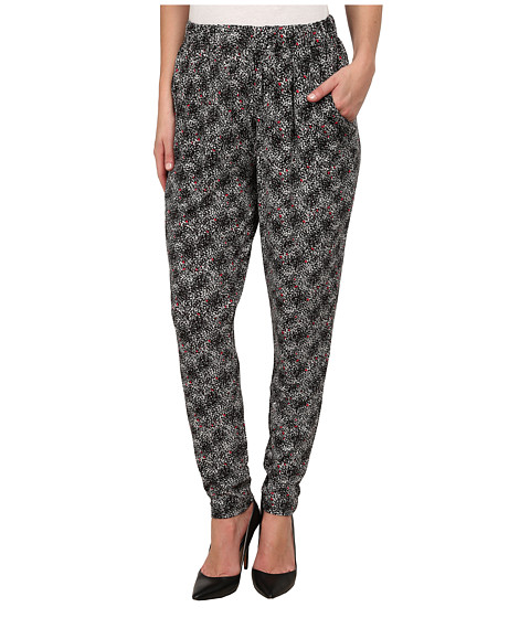 HUE - Pop Abstract Jersey Relaxed Leggings (Black) Women's Casual Pants