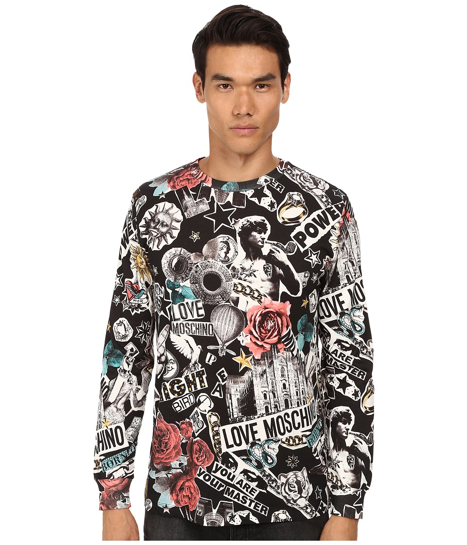 LOVE Moschino - Regular Fit Tattoo Print Long Sleeve Tee (Multi) Men