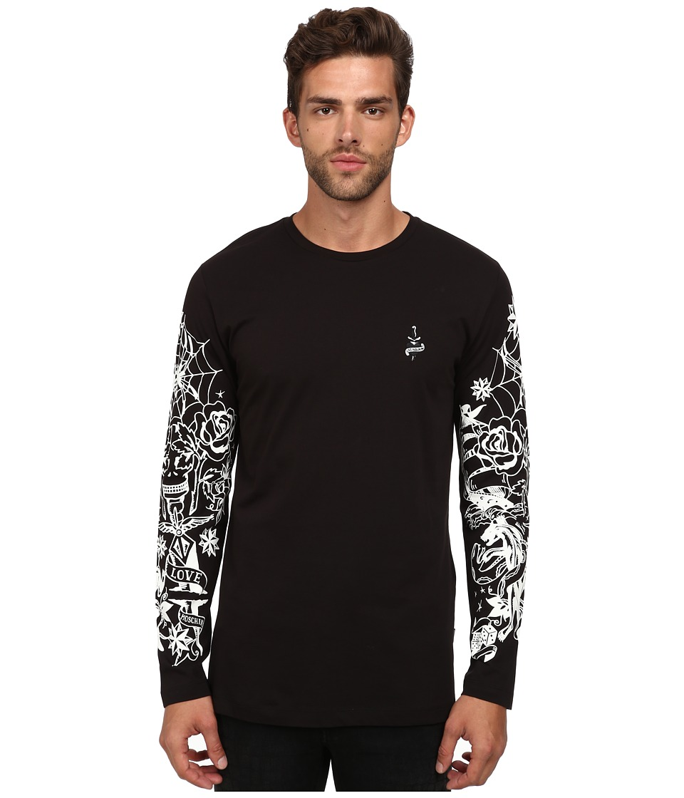 LOVE Moschino - Regular Fit Tattoo Sleeve Long Sleeve Tee (Black) Men