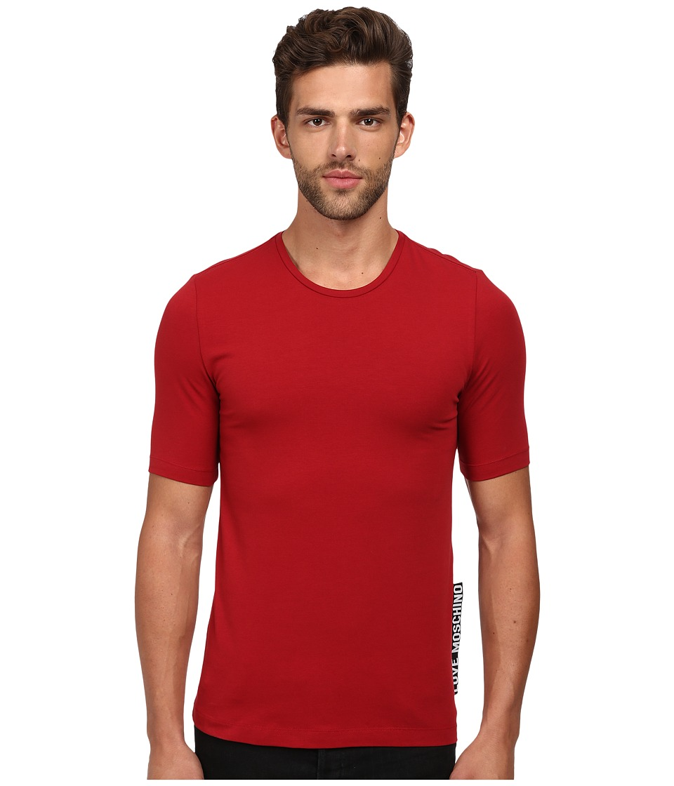 LOVE Moschino - Slim Fit Tee with Extra Large Logo Tag (Red) Men's T Shirt