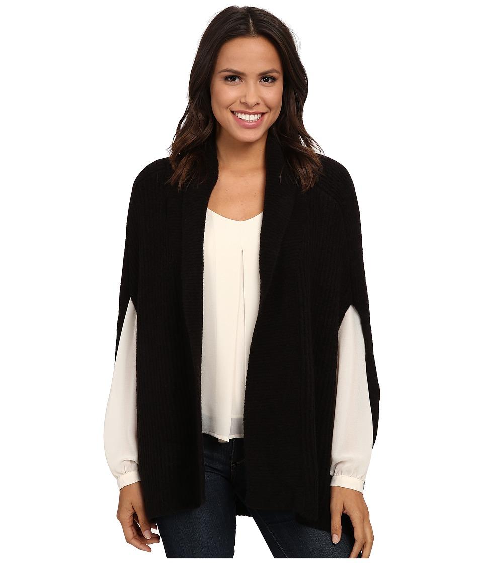 Brigitte Bailey - Diligent Open Poncho (Black) Women's Sweater