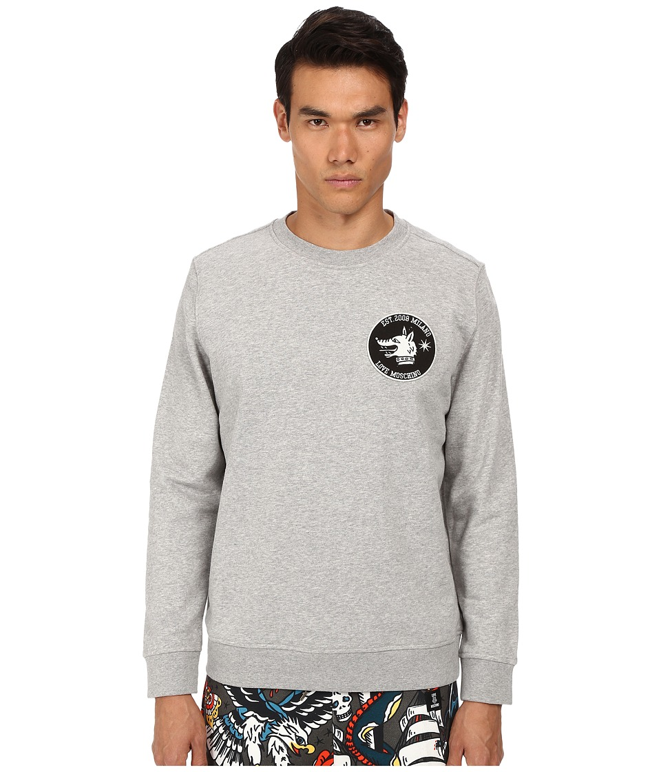 LOVE Moschino - Regular Fit Sweatshirt with Patch (Grey) Men's Sweatshirt