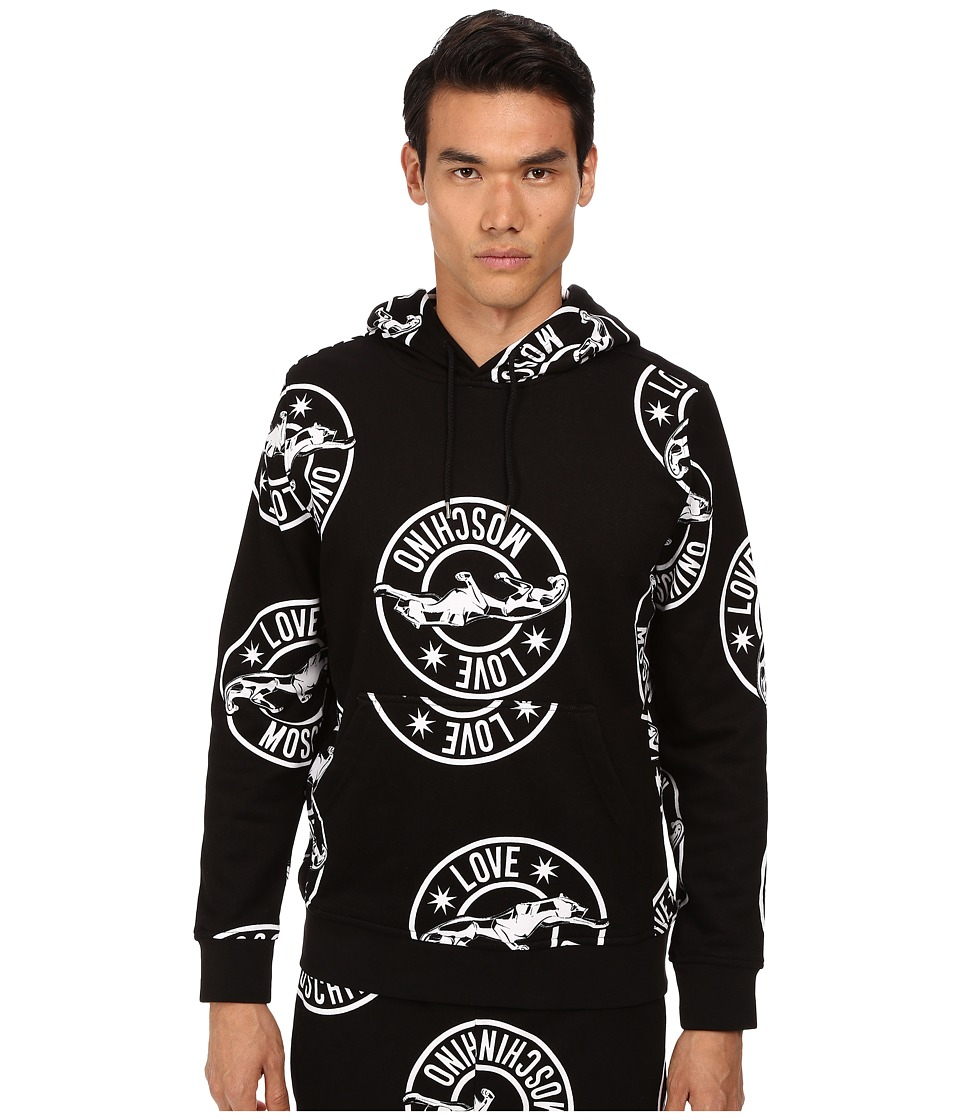 LOVE Moschino - Regular Fit Panther Print Hoodie (Black/White) Men