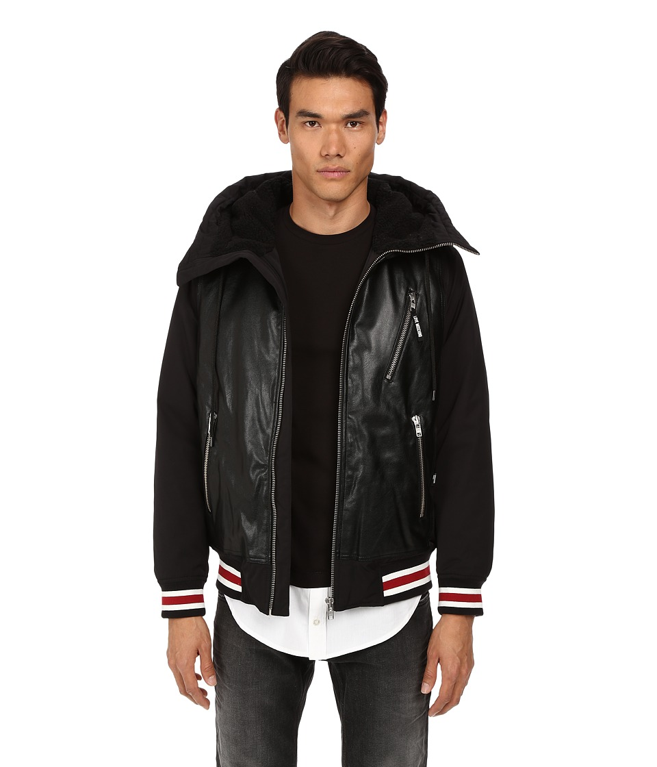 LOVE Moschino - Faux Shearling Bomber with Faux Leather Front (Black) Men