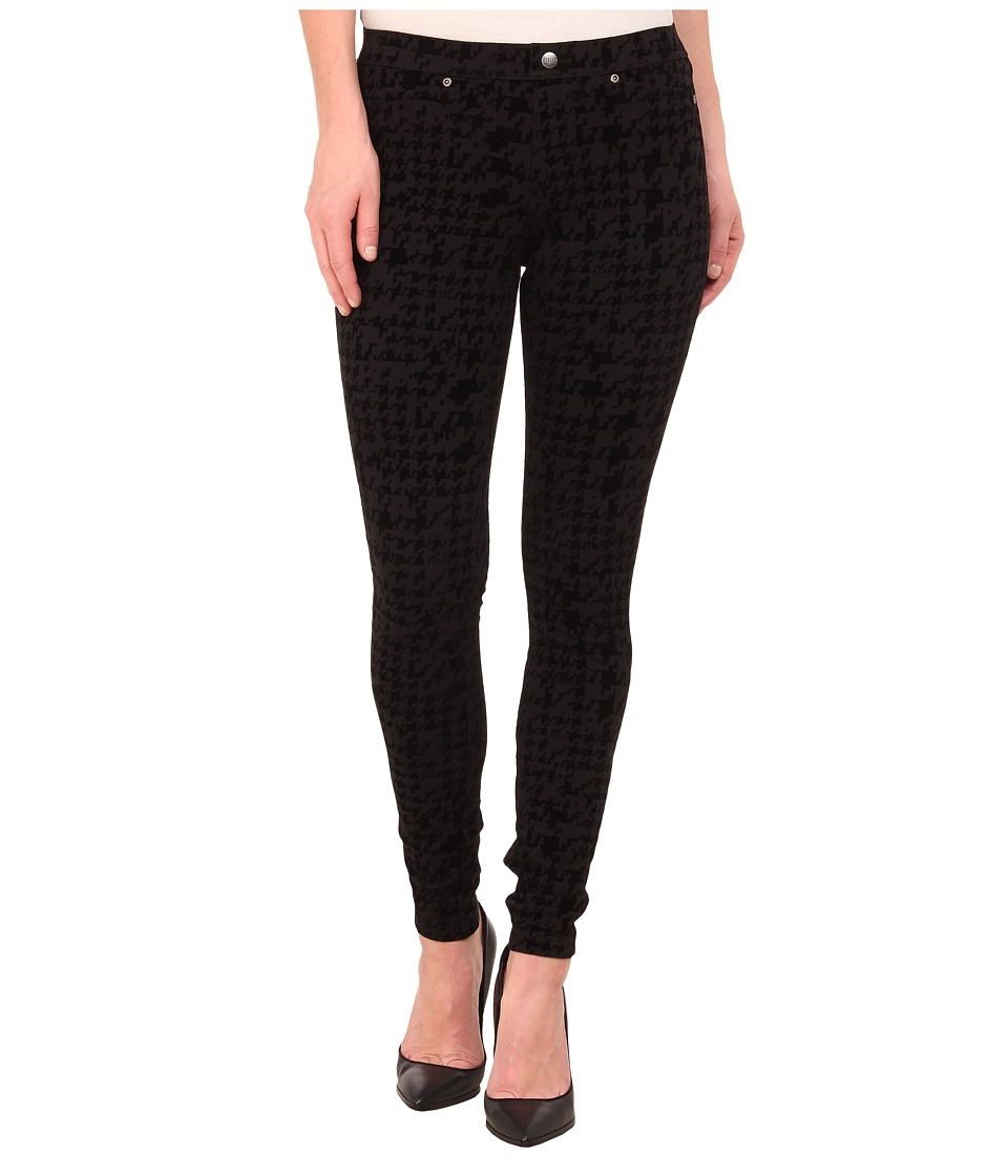 HUE - Flocked Houndstooth Super Smooth Denim Leggings (Black) Women