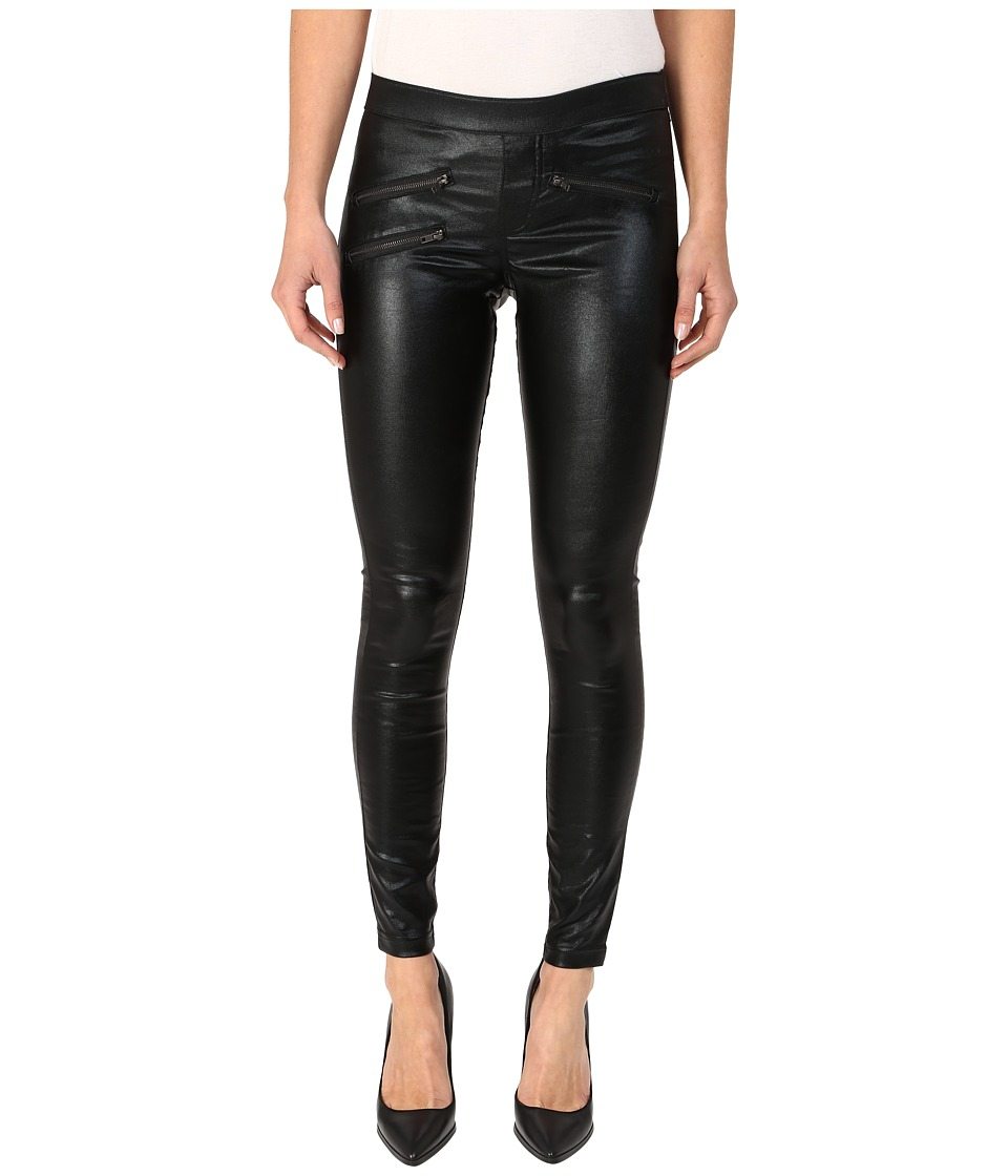 HUE - Zippered Glossy Denim (Black) Women's Jeans