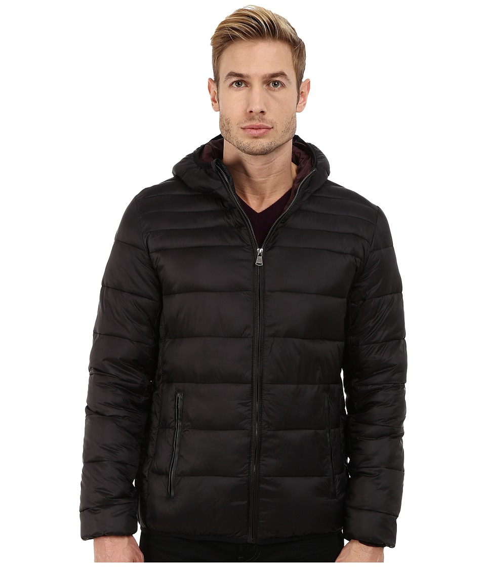 Perry Ellis - Nylon Hooded Puffer (Black) Men's Coat
