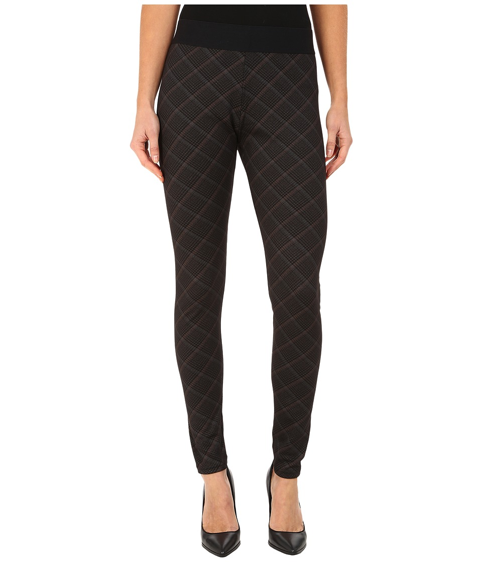 HUE - Plaid Elastic Waistband Ponte Leggings (Black) Women's Casual Pants