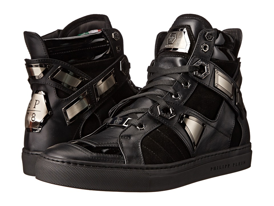 Philipp Plein - Gold Plated High Top (Black) Men's Shoes