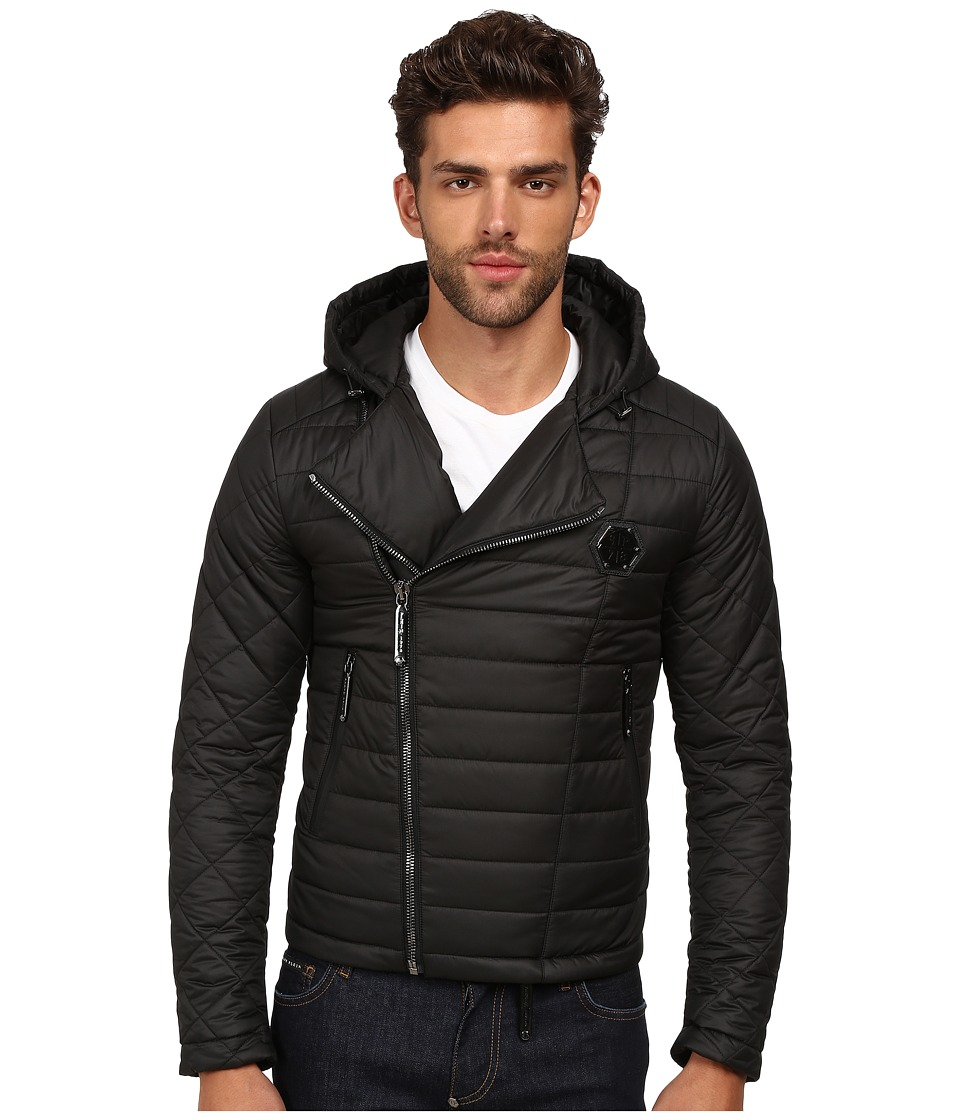 Philipp Plein - Hooded Puff Jacket with Asymmetrical Zip (Black) Men