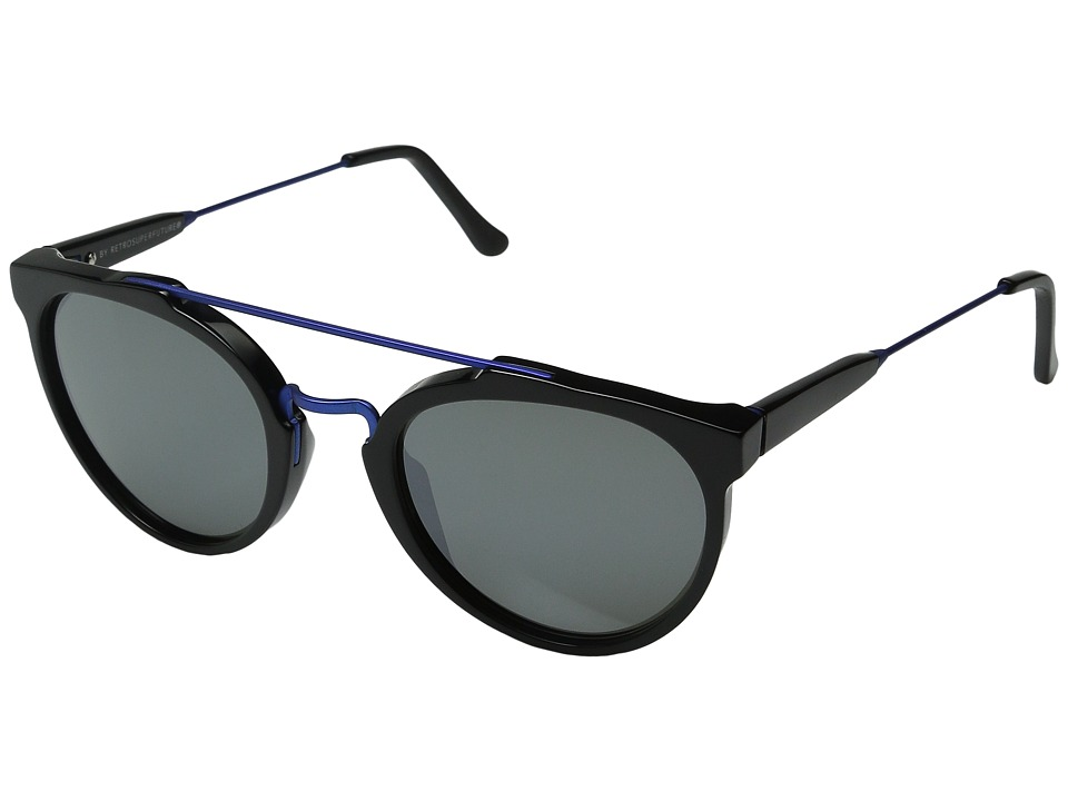 Super - Giaguaro B2B (Shiny Black/Powder Coated Blue) Fashion Sunglasses