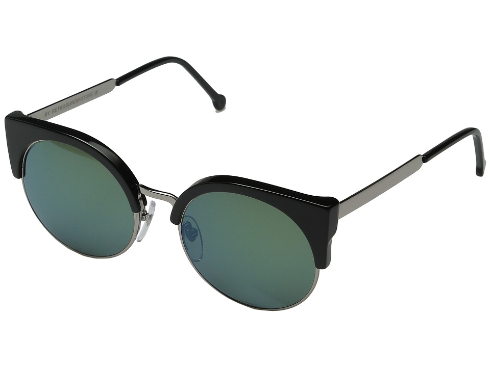 Super - Ilaria Patrol (Shiny Black/Bottle Green) Fashion Sunglasses