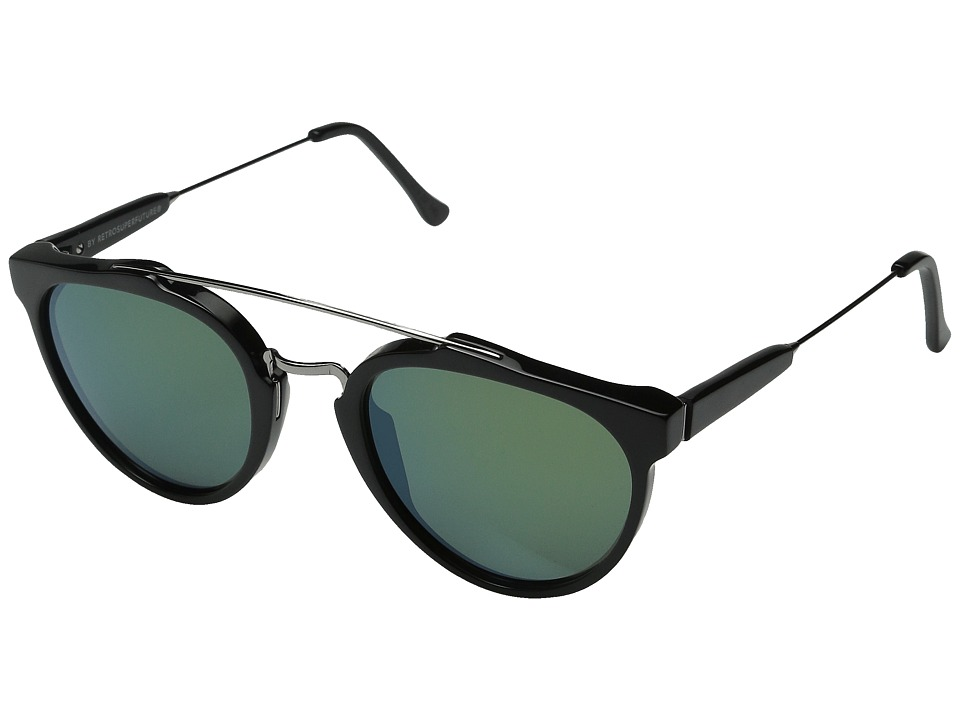 Super - Giaguaro Patrol (Shiny Black/Bottle Green) Fashion Sunglasses