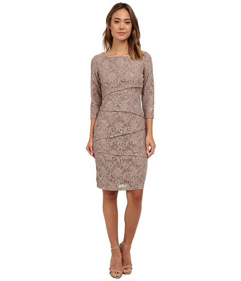 rsvp - Bea Tiered Lace Dress (Caf ) Women's Dress