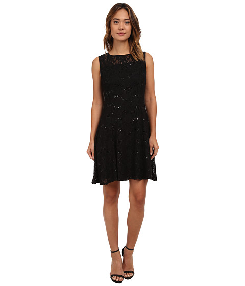 rsvp - Radiant Fit and Flare Sequin Lace Dress (Black/Black) Women's Dress