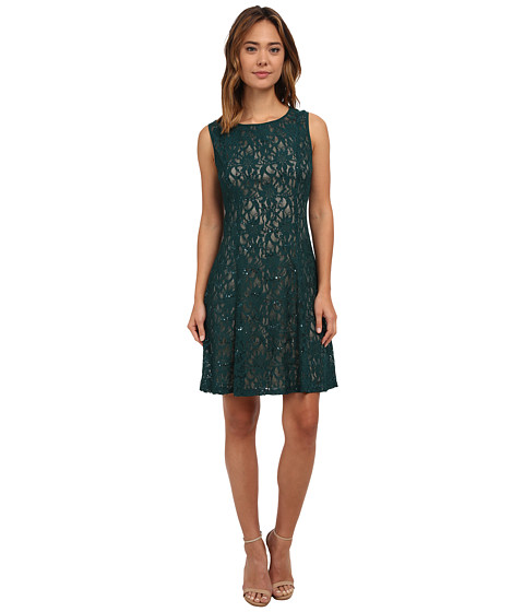 rsvp - Radiant Fit and Flare Sequin Lace Dress (Emerald/Nude) Women