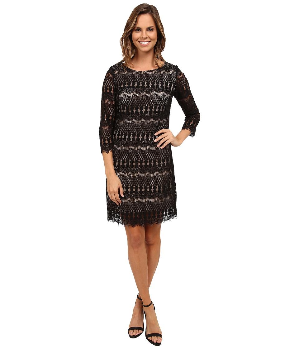 rsvp - Scalloped Lace Jennie Dress (Black/Nude) Women's Dress