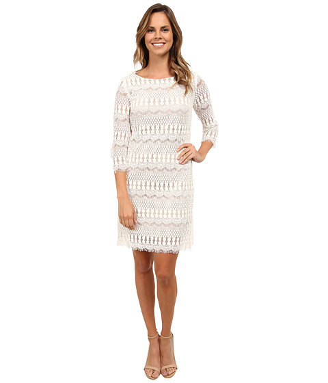 rsvp - Scalloped Lace Jennie Dress (Ivory/Nude) Women's Dress