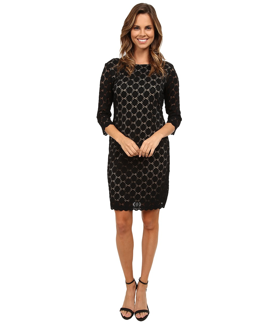 rsvp Alluring Lace Sheath Dress (Black/Nude) Women