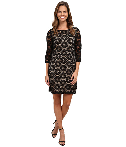 rsvp - Sunshine A-Line Woven Lace Dress (Black/Nude) Women's Dress
