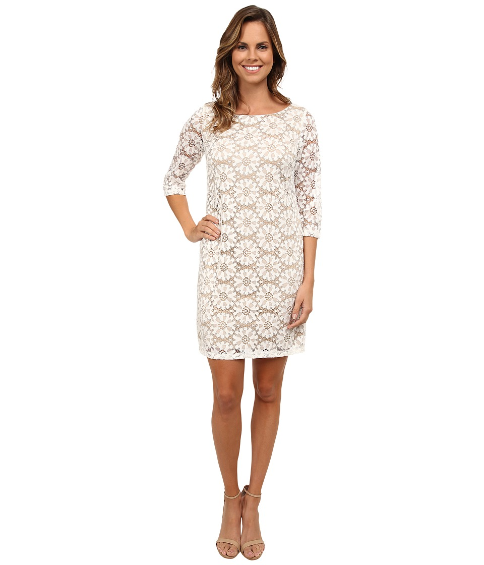 rsvp - Sunshine A-Line Woven Lace Dress (Ivory/Nude) Women's Dress