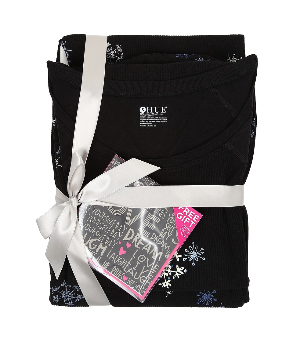 HUE - Snow Sprinkle Thermal Set (Black) Women's Pajama Sets
