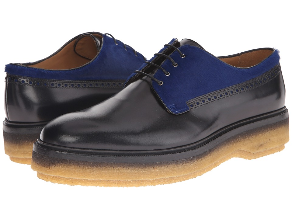 Etro - Runway Leather and Pony Hair Oxford (Black/Blue) Men