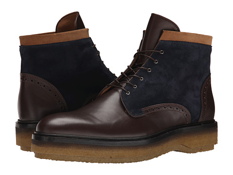 Etro - Runway Leather and Suede Boot (Brown/Navy/Tan) Men's Lace-up Boots