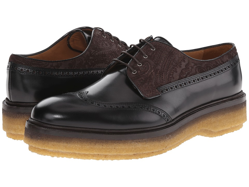 Etro - Runway Leather and Velvet Wingtip (Black/Brown) Men's Shoes