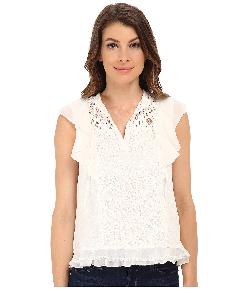 French Connection - Dayton Lace Top 72EBS (Winter White) Women's Clothing