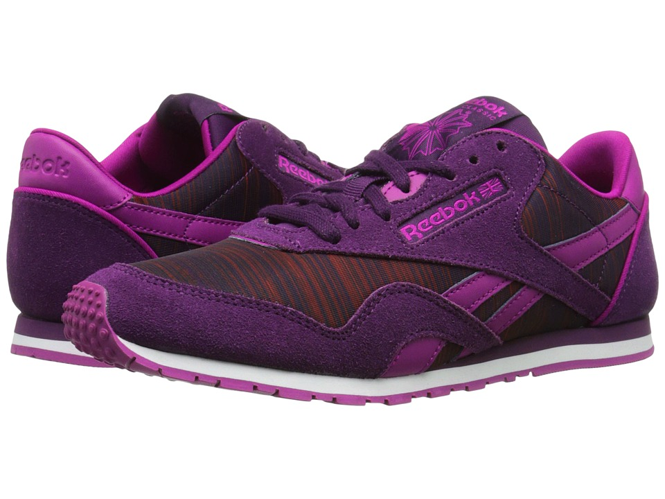 Reebok - Classic Nylon Slim Geo Graphic (Royal Orchid/Fierce Fuchsia/Night Violet/Rasberry/Blazing Pink/W) Women's Classic Shoes