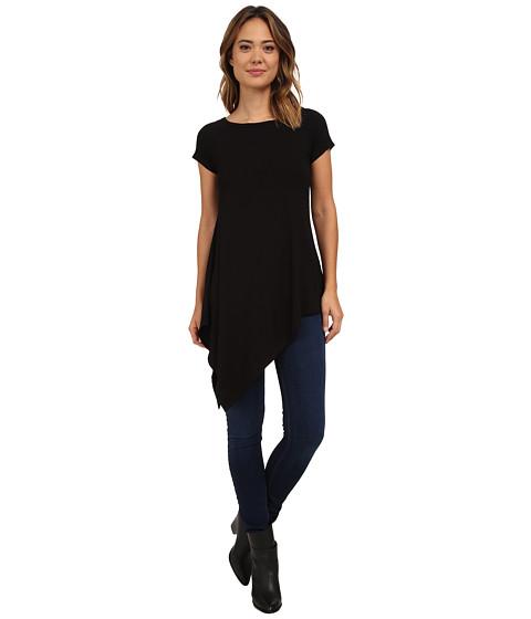 Karen Kane - Angled Hem Cap Sleeve Tee (Black) Women's Short Sleeve Pullover