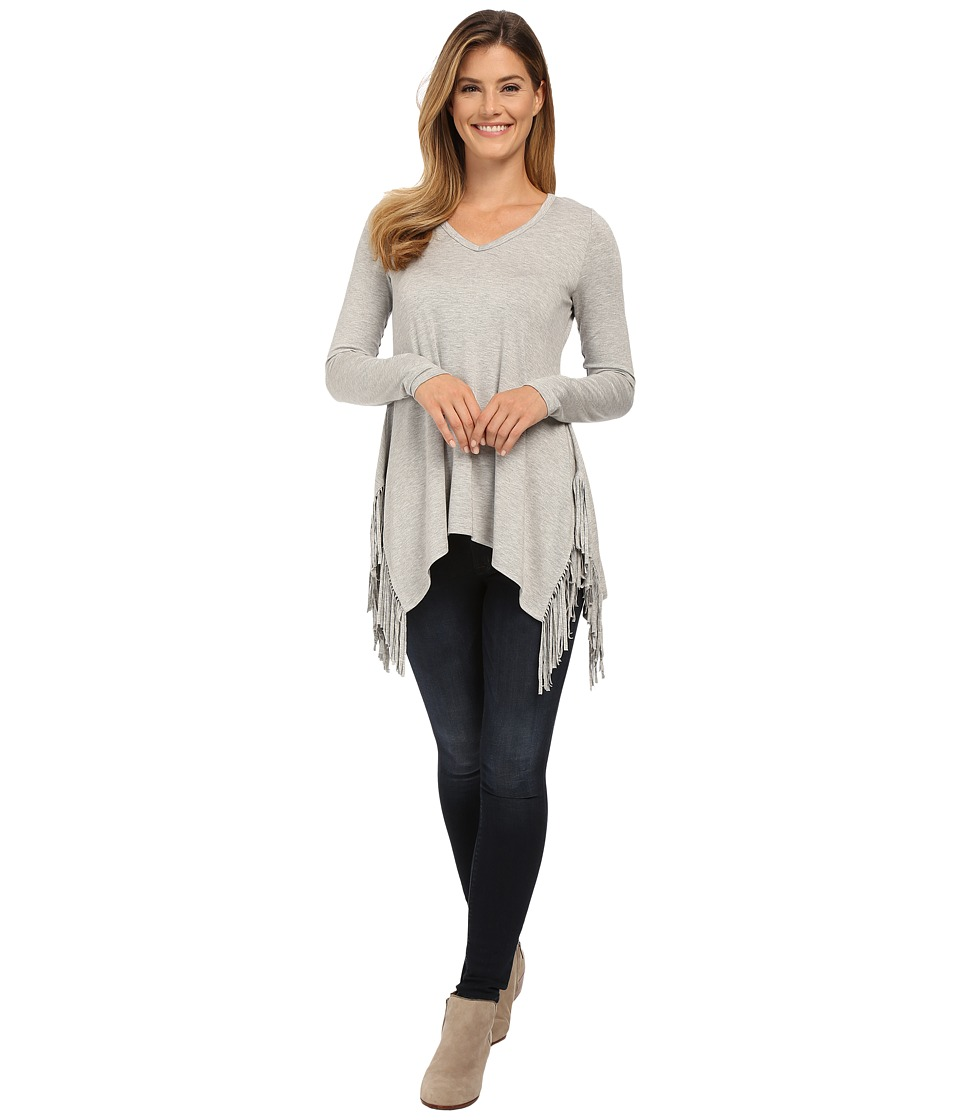 Karen Kane - Long Sleeve Fringe Top (Light Heather Gray) Women's Long Sleeve Pullover