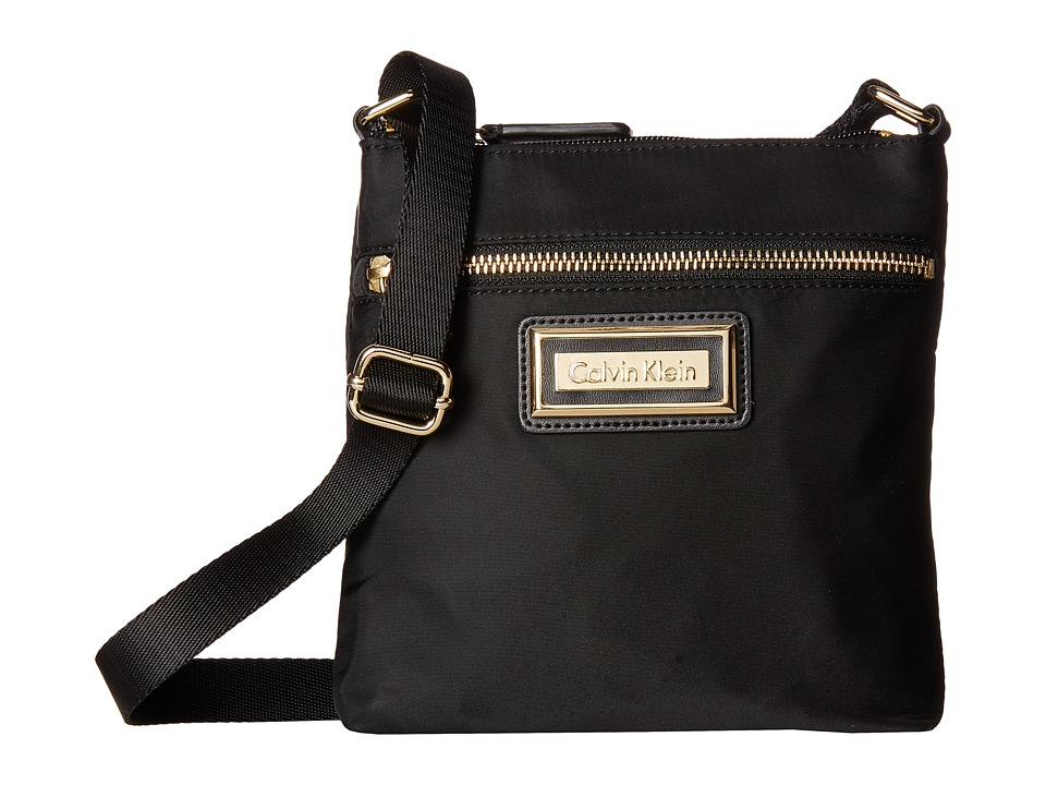 Calvin Klein - Nylon Crossbody (Black/Gold) Cross Body Handbags