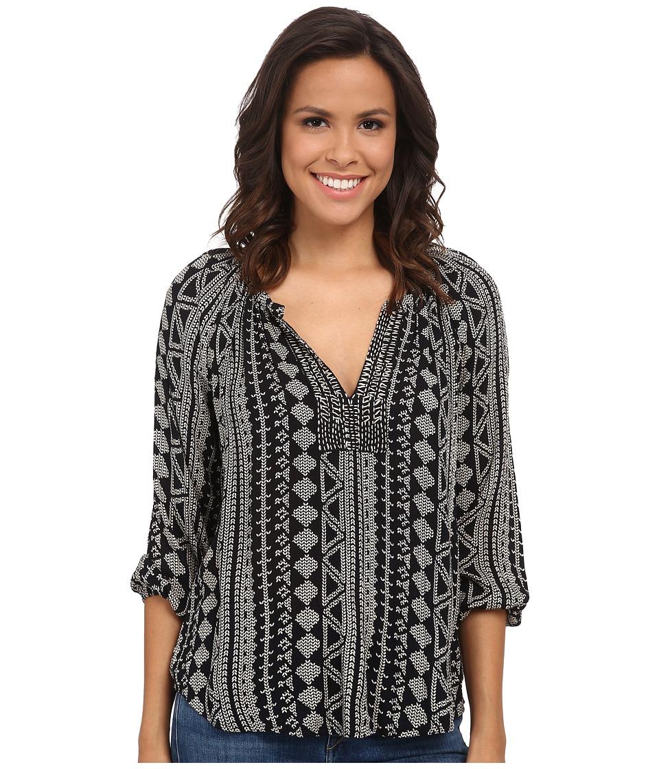 Velvet by Graham & Spencer - Dominica03 African Print Long Sleeve Shirt (Black) Women's Clothing