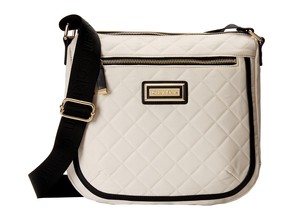 Calvin Klein - Quilted Nylon Messenger (Off White/Black) Messenger Bags