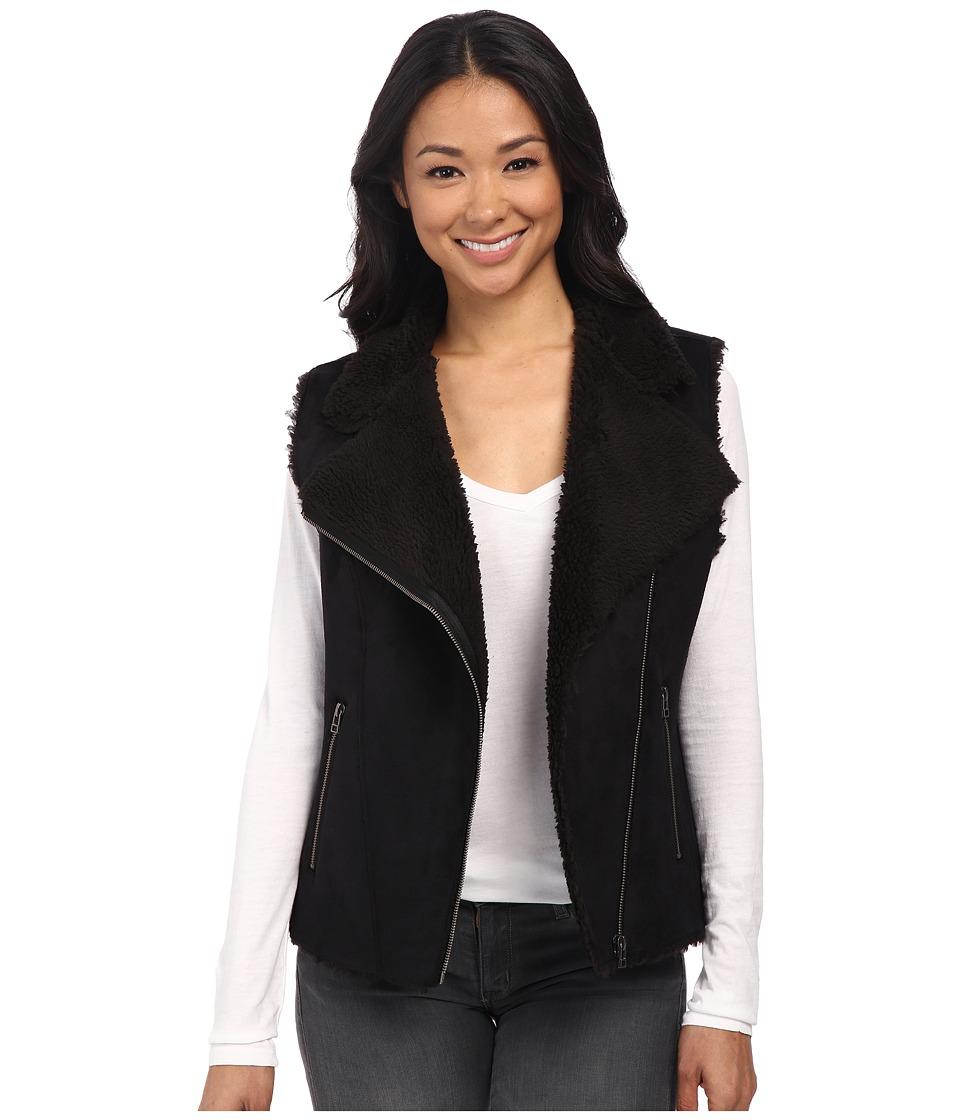 Velvet by Graham & Spencer - Anila03 Sherpa Moto Vest (Black) Women's Vest