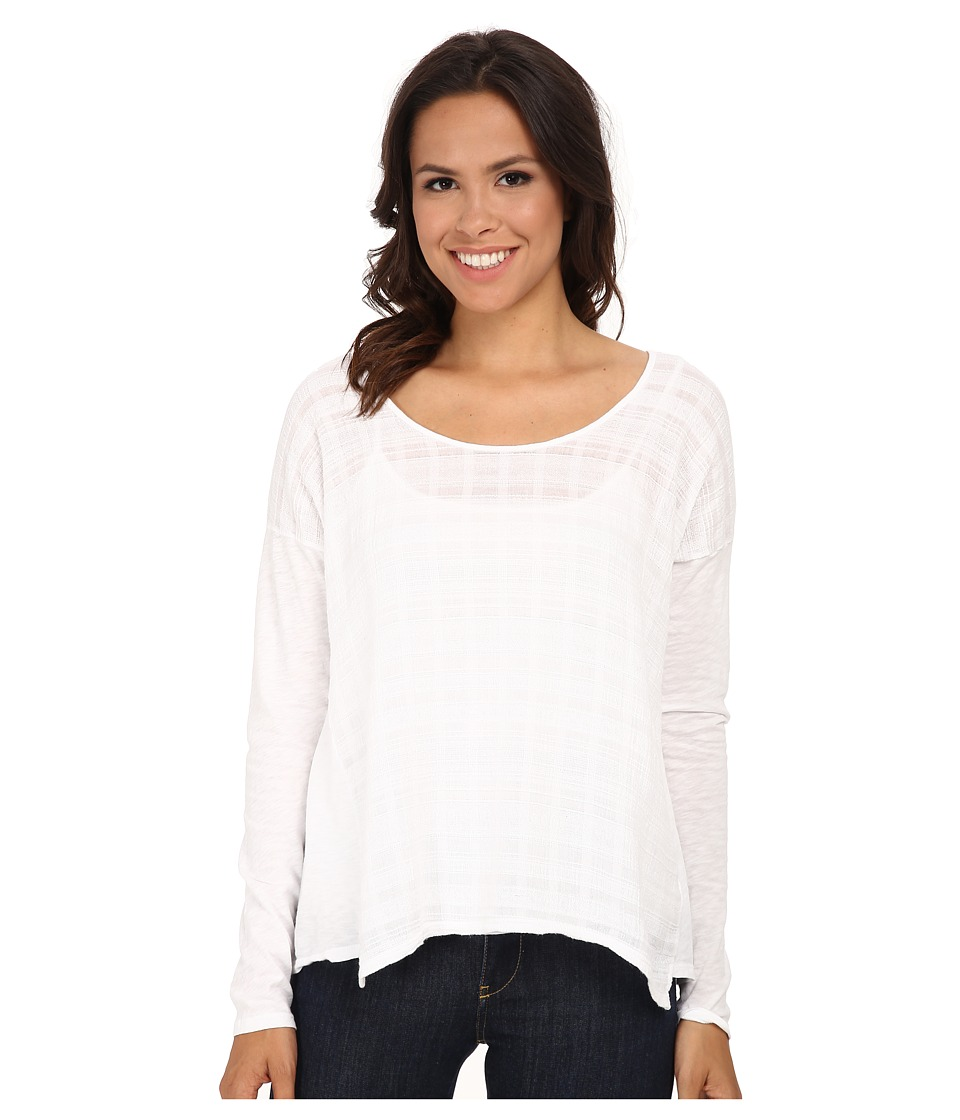 Velvet by Graham & Spencer - Masika03 Slub Mix Long Sleeve Tee (White) Women's Clothing