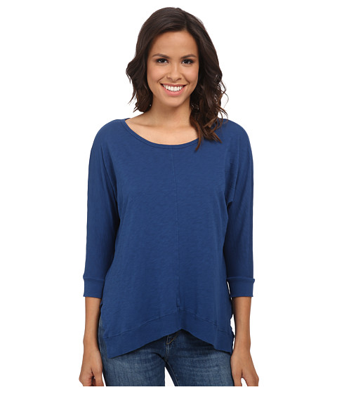 Velvet by Graham & Spencer - Lucina03 Cotton Slub 3/4 Sleeve Top (Blue) Women's Clothing