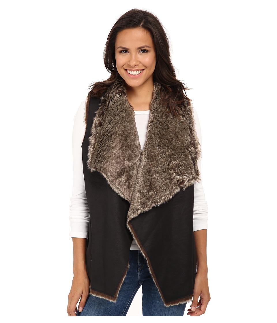 Velvet by Graham & Spencer - Campbell03 Faux Fur Vest (Black) Women's Vest