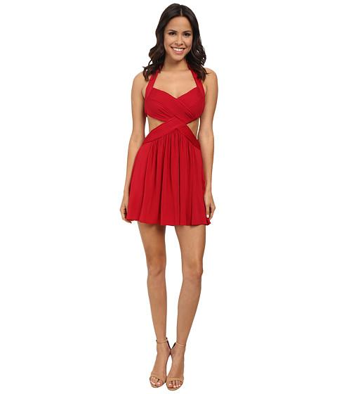 BCBGMAXAZRIA - Shea Halter Cutout Cocktail Dress (New Red) Women
