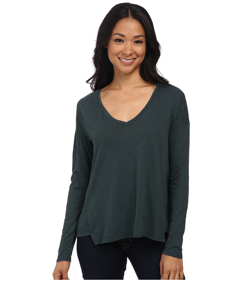 Velvet by Graham & Spencer - Brittany03 Cotton Slub Long Sleeve Tee (Kermit) Women's Long Sleeve Pullover
