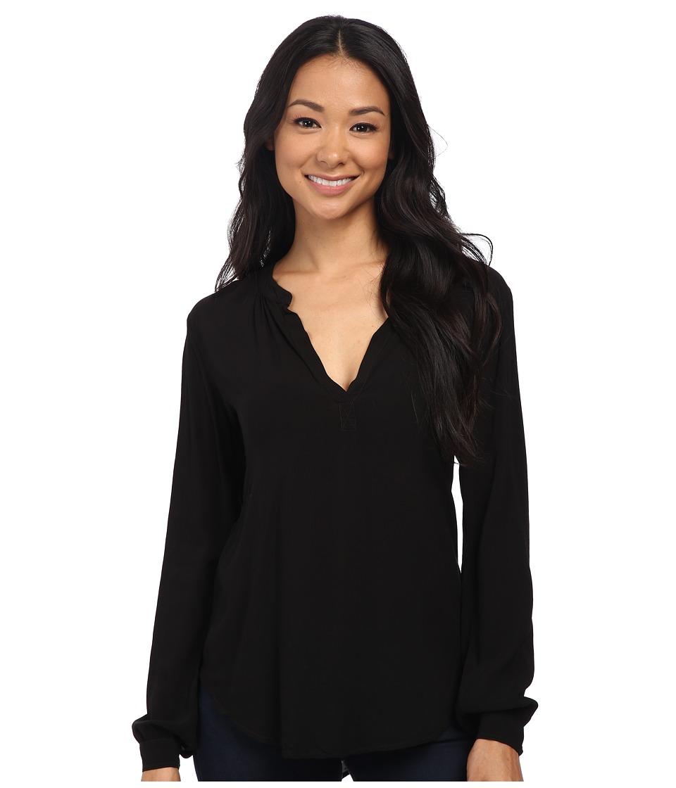 Velvet by Graham & Spencer - Rosie03 Rayon Challis Long Sleeve Blouse (Black) Women's Blouse