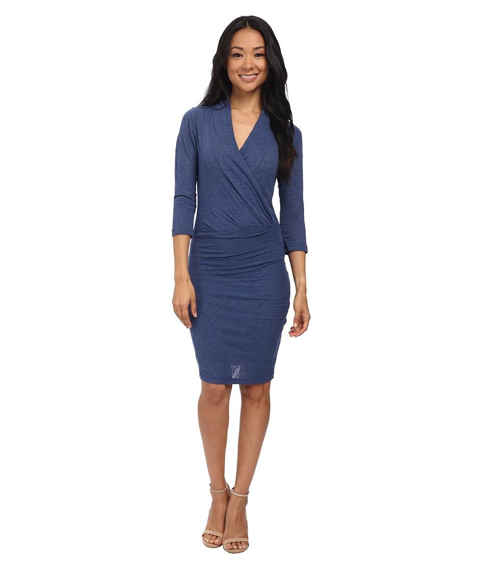 Velvet by Graham & Spencer - Yves03 Soft Texture Knit Long Sleeve Dress (Petrol) Women's Dress