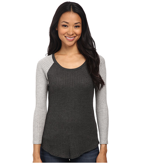 Velvet by Graham & Spencer - Lavender03 Waffle Knit Raglan Tee (Anthracite/Heather Grey) Women's Clothing