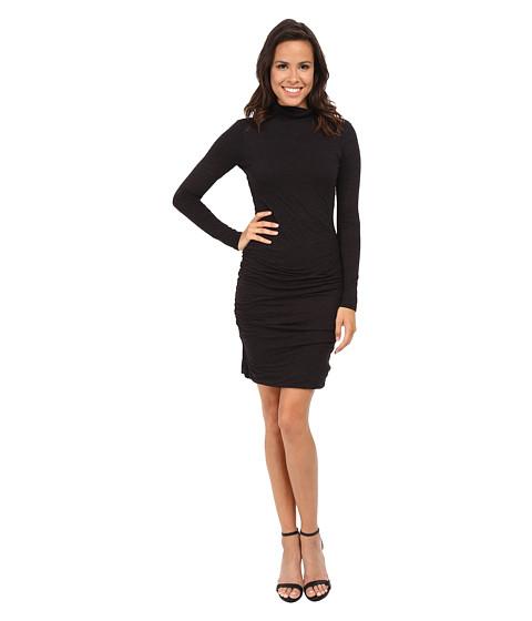 Velvet by Graham & Spencer - Soft Texture Knit Long Sleeve Turtleneck Dress (Black) Women's Dress
